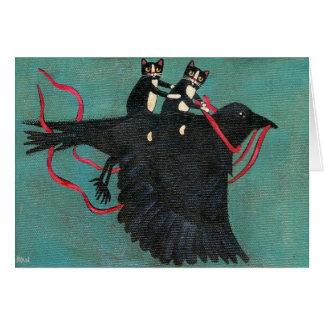 Cats' Crow Ride Greeting Card