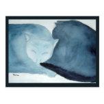 Cats Cuddling Watercolor Print Postcard