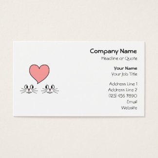 Cats. Cute Couple with Love Heart. Business Card