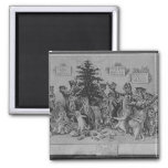 cats decorating christmas tree 2 inch square magnet