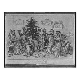 cats decorating christmas tree 4.25x5.5 paper invitation card