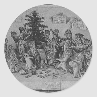cats decorating christmas tree classic round sticker