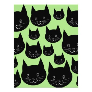 Cats Design in Black and Green. Full Color Flyer