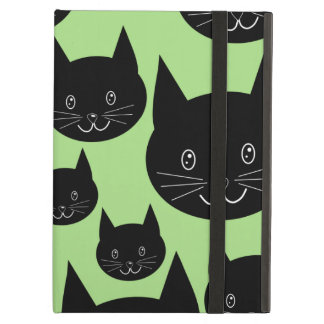 Cats Design in Black and Green. iPad Folio Cases