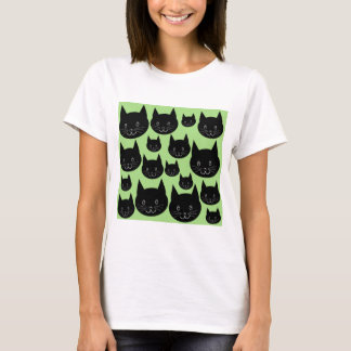 Cats Design in Black and Green. T-Shirt