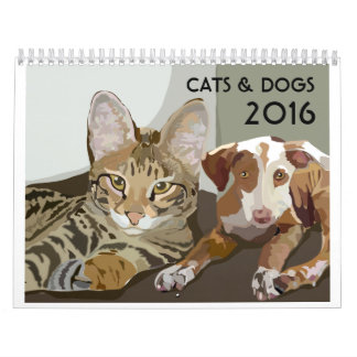 CATS & DOGS 2016, Calendar Medium white