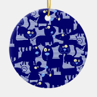 Cats - Dogs and Mice in Blue Ceramic Ornament