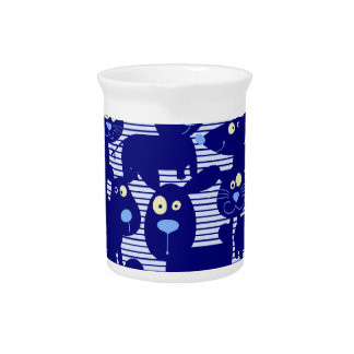 Cats - Dogs and Mice in Blue Pitchers