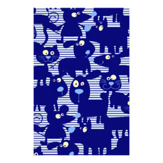 Cats - Dogs and Mice in Blue Stationery
