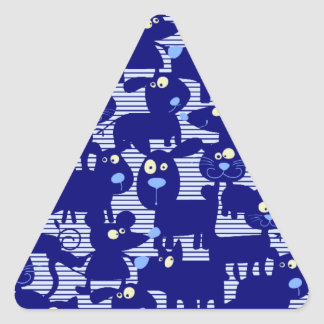 Cats - Dogs and Mice in Blue Triangle Sticker