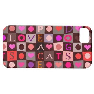 Cats Dogs Love Peace Checkerboard iPhone SE/5/5s Case