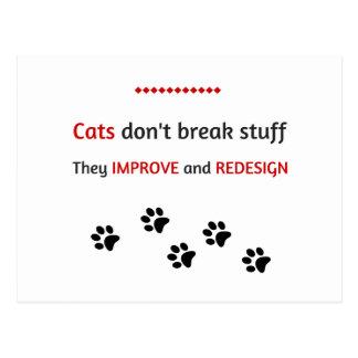 Cats don't break stuff postcard
