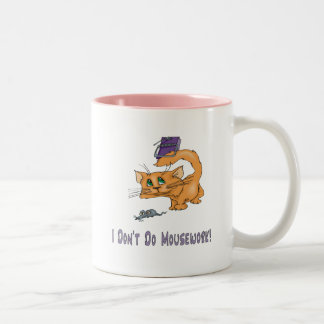 Cats: Don't Do Mousework! Two-Tone Coffee Mug