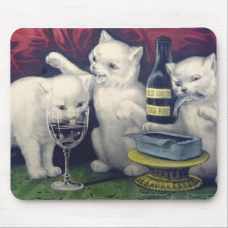 Cats drinking wine mouse pad