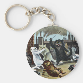 Cats Duke It Out on a Rooftop Basic Round Button Keychain