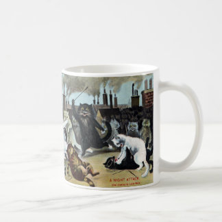 Cats Duke It Out on a Rooftop Classic White Coffee Mug