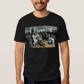 Cats Duke It Out on a Rooftop T Shirt