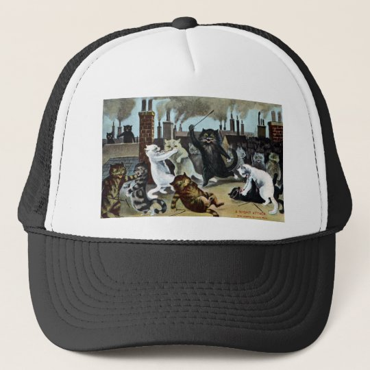 Cats Duke It Out on a Rooftop Trucker Hat