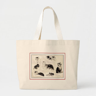 """""""Cats Eating and Playing"""" Large Tote Bag"""