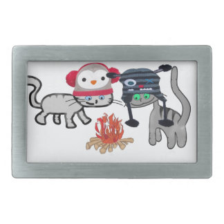 Cats Enjoy The Warmth From The Fire Belt Buckle