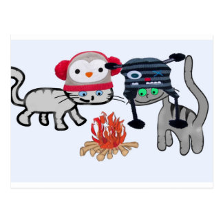 Cats Enjoy The Warmth From The Fire Postcard