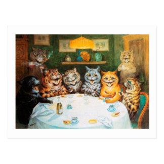 Cats Enjoying Cigars & Brandy, Louis Wain Postcard