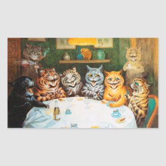 Cats Enjoying Cigars & Brandy, Louis Wain Rectangular Sticker