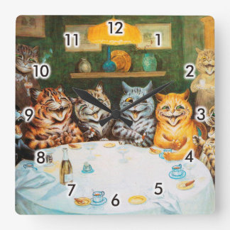 Cats Enjoying Cigars & Brandy, Louis Wain Square Wall Clock