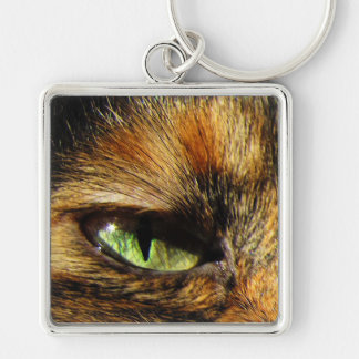 Cat's Eye Silver-Colored Square Keychain