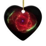 Cat's Eye Nebula Double-Sided Heart Ceramic Christmas Ornament