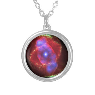 Cat's Eye Nebula glowing Silver Plated Necklace