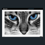 "Cat&#39;s Eyes Laptop Decal<br><div class=""desc"">Close up of a blue eyed cat in black and white.</div>"