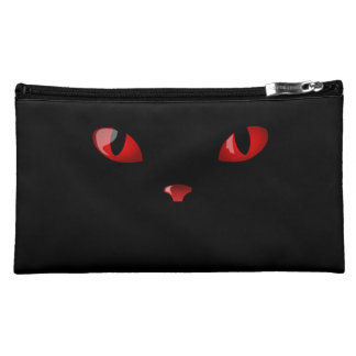 CATS EYES RED Sueded Medium Cosmetic Bag