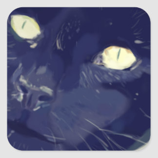 Cats face drawing square sticker