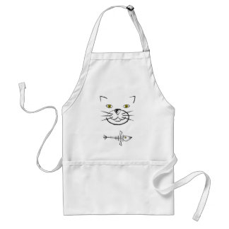 Cat's Face Silhouette With Fish Skeleton Aprons