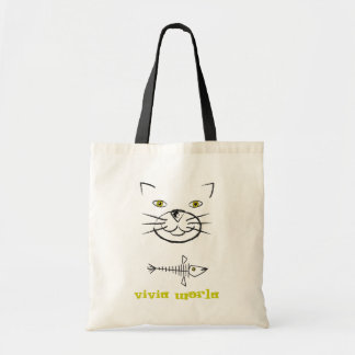 Cat's Face Silhouette With Fish Skeleton Tote Bag