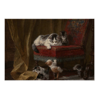 Cats family painting poster