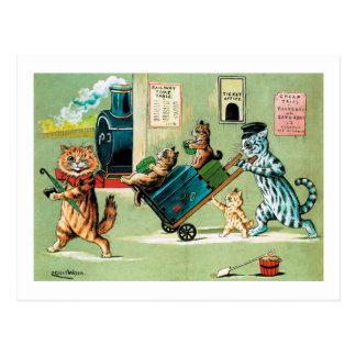 Cats Family's Train Travel, Louis Wain Postcard