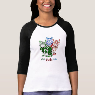 Cats folk art red delft, (Patches/Stripes/Bobbles) T-Shirt