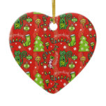 Cats for Christmas Double-Sided Heart Ceramic Christmas Ornament