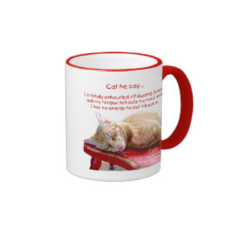 Cats for Nursing Students - Exhausted Ringer Coffee Mug