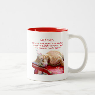 Cats for Nursing Students - Exhausted Two-Tone Coffee Mug