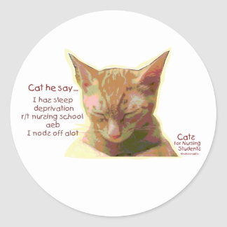 Cats for Nursing Students - Sleep Deprivation Classic Round Sticker