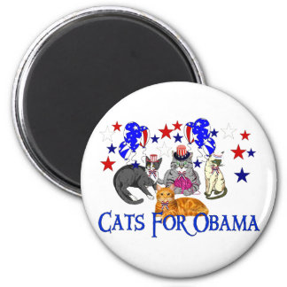 CATS FOR OBAMA 2 INCH ROUND MAGNET