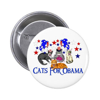 CATS FOR OBAMA BUTTON