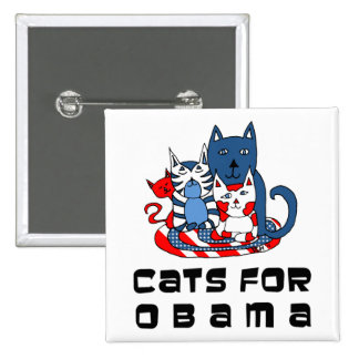 Cats For Obama 2 Inch Square Button
