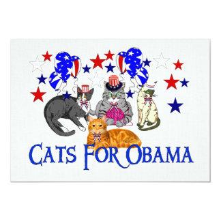 "CATS FOR OBAMA 5"" X 7"" INVITATION CARD"