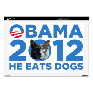 """Cats For Obama Decals For 17"""" Laptops"""