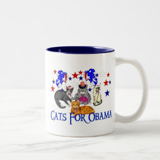 CATS FOR OBAMA Two-Tone COFFEE MUG
