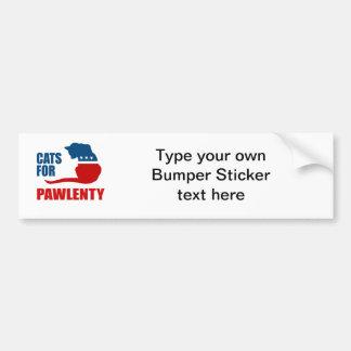 CATS FOR PAWLENTY CAR BUMPER STICKER